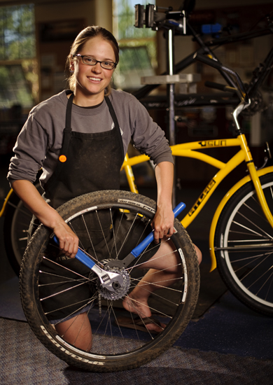 """Cynthia the Bike Mechanic"" by Trice Megginson, University of Wyoming."