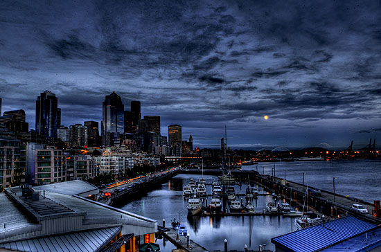 """Seattle at Night"" by Kevin Colton, Hobart and William Smith Colleges."