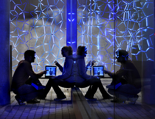 """Conversation in Blue Light"" by Bob Elbert, Iowa State University."